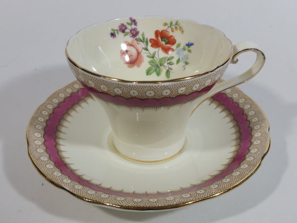 Antique c. 1934 Aynsley Bone China Maroon Red and Gold Floral Tea Cup & Saucer Set - Rare Mixed Flower Pattern