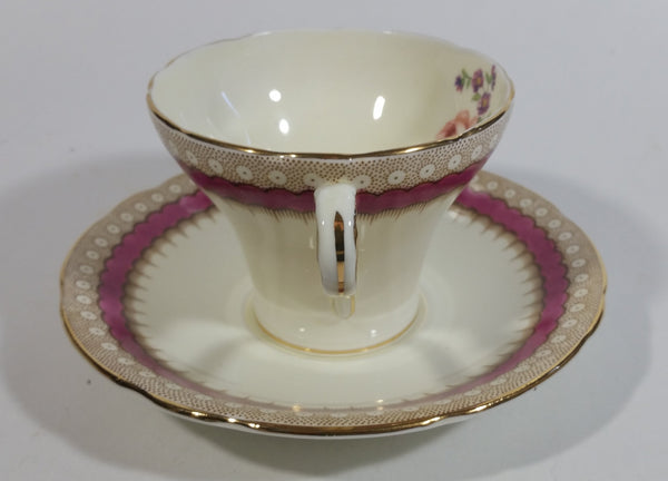 AYNSLEY RED BAND FANCY GOLD DESIGNS FLORAL TEA CUP AND SAUCER