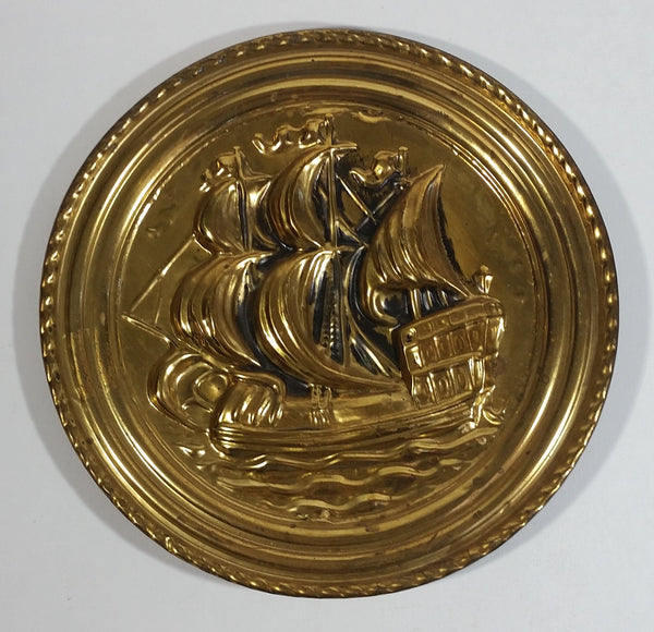 Vintage Galleon Ship Sail Boat Hammered Brass Decorative Wall Plate Nautical Sailing Collectible