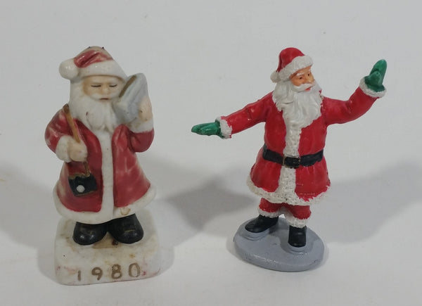 Vintage Very Unique 1980 Santa Claus Carrying a Portable Stereo Boom Box Ceramic Decorative Christmas Ornament with High Fiving Waving Santa Ornament