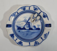 Vintage Very Cute Delfts Blue Hand Painted Windmill Decor Ceramic Ash Tray with Tiny Shoe Clogs Attached