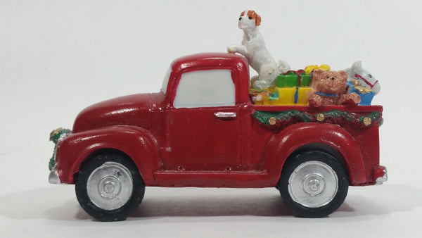 Decorative Resin Vintage Christmas Pickup Truck with Presents and Dog Ornament