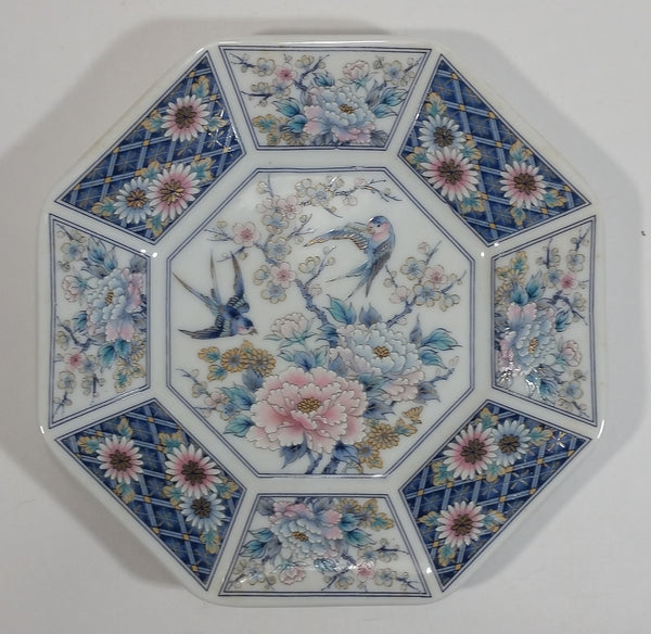 Vintage Japanese Bird and Flower Themed Blue and White Colored Octagon Shaped Plate