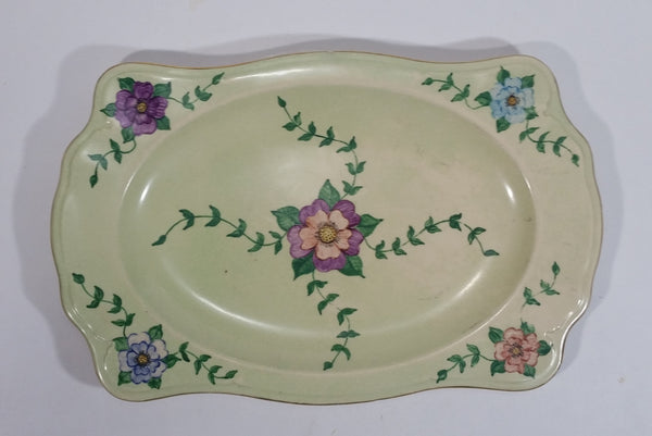 Beautiful 1954 Johnson Bros. Hand Painted Victorian Pattern Light Green with Pink, Purple, Blue Flowers Fine China Serving Platter - Signed J. Greenhow