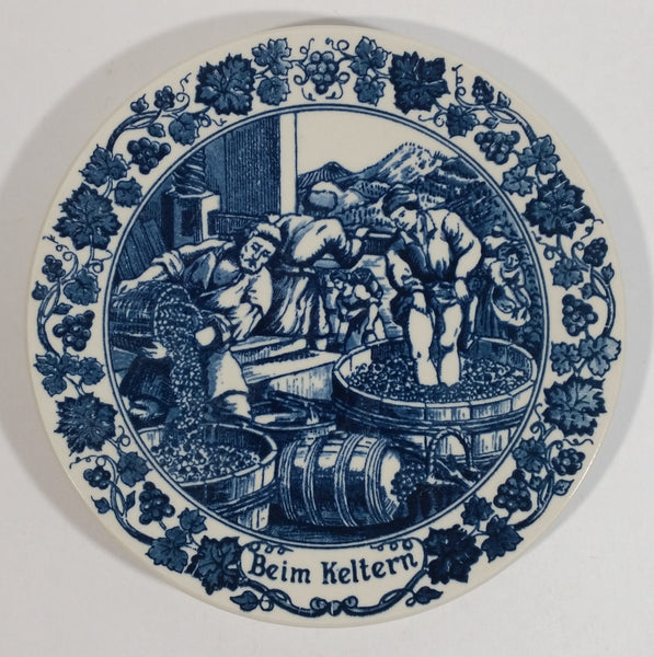 "Vintage Original Royal Goedewaagen Holland ""Beim Keltern"" Pressing the Grapes Wine Themed Blue and White Decorative Collector Plate - Treasure Valley Antiques & Collectibles"