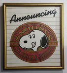 "Extremely Rare c. 1984 Announcing Snoopy's Original Ice Cream & Cookies Framed Store Advertisement 14 1/4"" x 16"" - Treasure Valley Antiques & Collectibles"