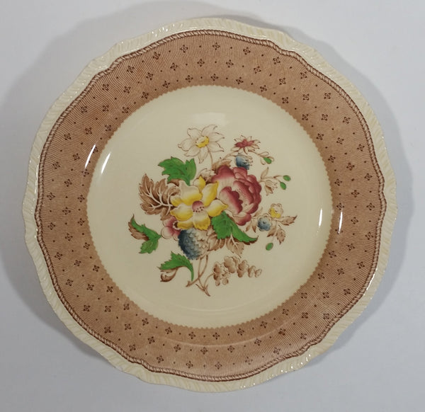 "Vintage Ridgways Shelton England Plymouth Brown Color 9"" Flower Decor Plate - Numbered"