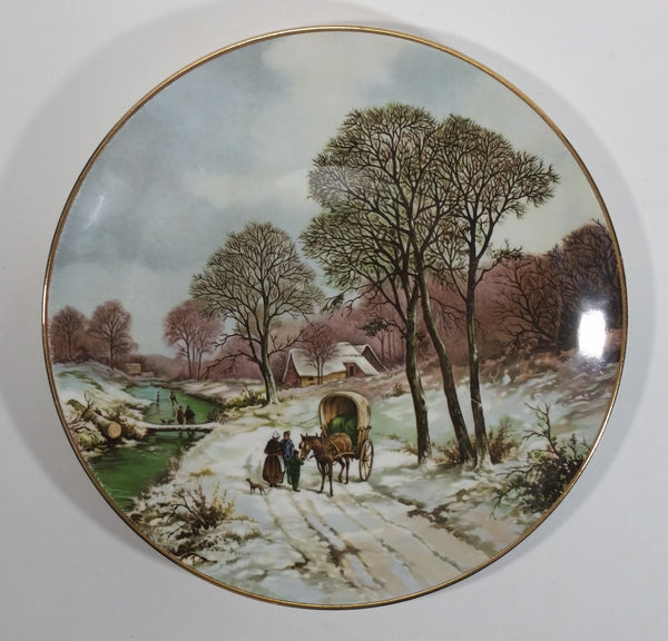 "Vintage Crown Staffordshire Landscape in Winter after painting by B.C. Koekkoek 1803-1862 Bone China 9"" Collector Plate - Treasure Valley Antiques & Collectibles"