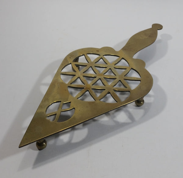 Vintage Ornate Spade Style Brass Hot Plate Pot Holder Metalware Collectible - Treasure Valley Antiques & Collectibles