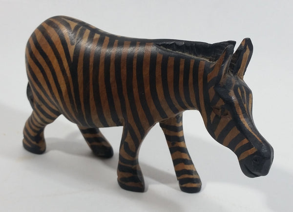 Zebra Carved Wooden Animal Figurine