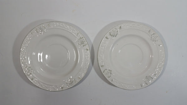"Bombay Company Set of 2 White Embossed Floral Design 6"" China Side Plates"