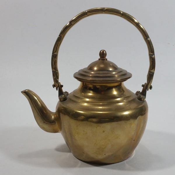 Vintage Small Heavy Brass Teapot with Lid