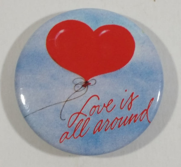 "Vintage 1985 Hallmark ""Love is all around"" Red Balloon Floating in Blue Sky Collectible Pin"