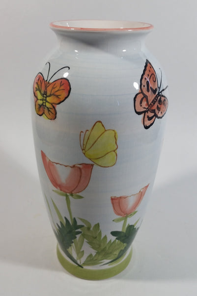 "Hand Painted Butterfly and Floral Themed 8"" Tall White Flower Vase - Treasure Valley Antiques & Collectibles"