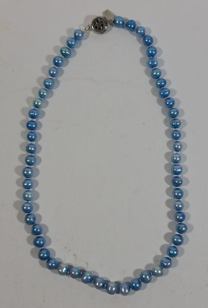"Light Baby Blue 18"" Pearl Necklace"