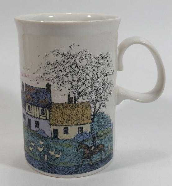 Dunoon Stoneware Saxon Pattern Cottages Coffee Mug Designed By Jack Dadd Made in Scotland