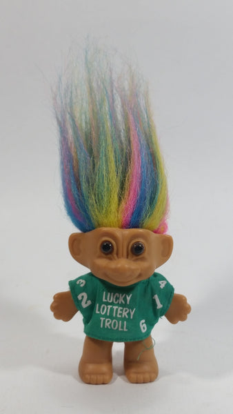Vintage 1980s Russ Lucky Lottery Troll with Rainbow Hair and Green Shirt Collectible Toy Figure