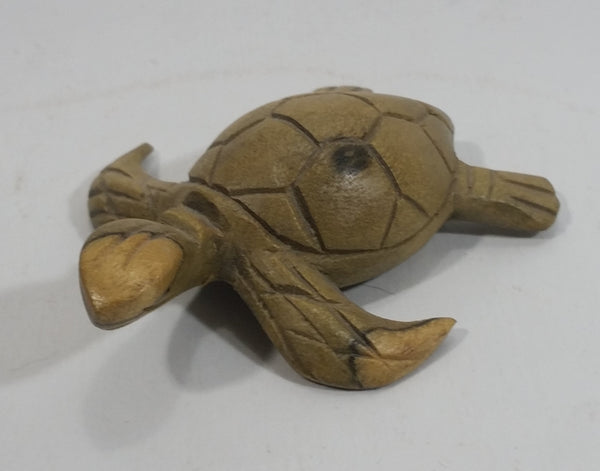 Light Green Colored Small Turtle Tortoise Wood Carved Animal Figure
