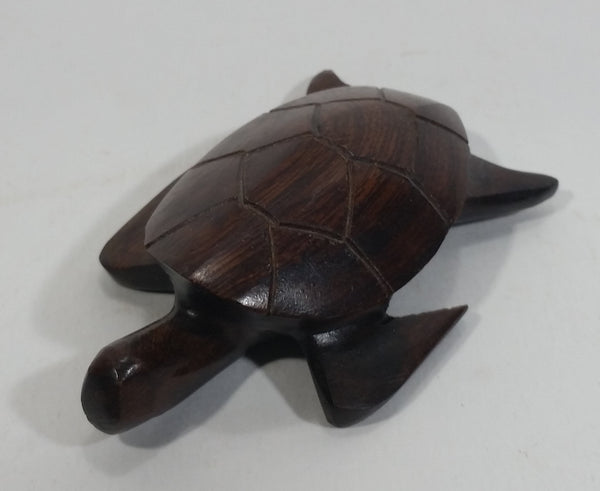 Dark Brown Colored Small Turtle Tortoise Wood Carved Animal Figure