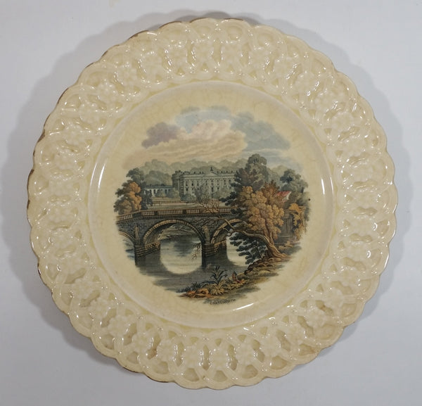 "Antique 1930s Royal Cauldon Chatsworth White Decorative 9 3/4"" Pottery Plate"