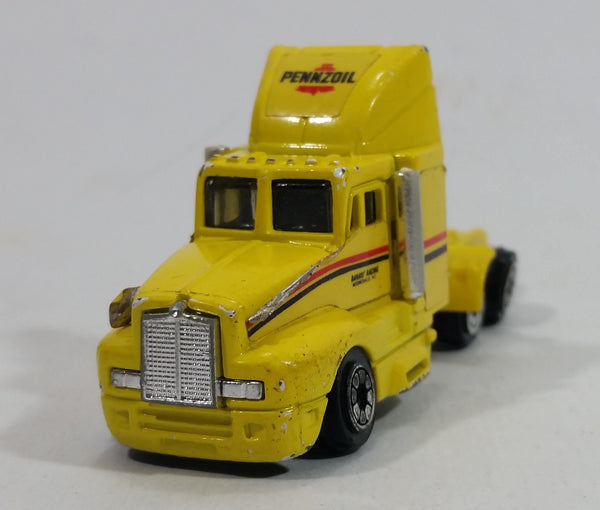 1992 Racing Champions Pennzoil Semi Truck Tractor Yellow Die Cast Toy Car Rig Vehicle - Treasure Valley Antiques & Collectibles