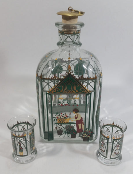 Holmegaard Juleflaske Christmas Themed Clear Glass Decanter Bottle with 2 Glasses - Treasure Valley Antiques & Collectibles