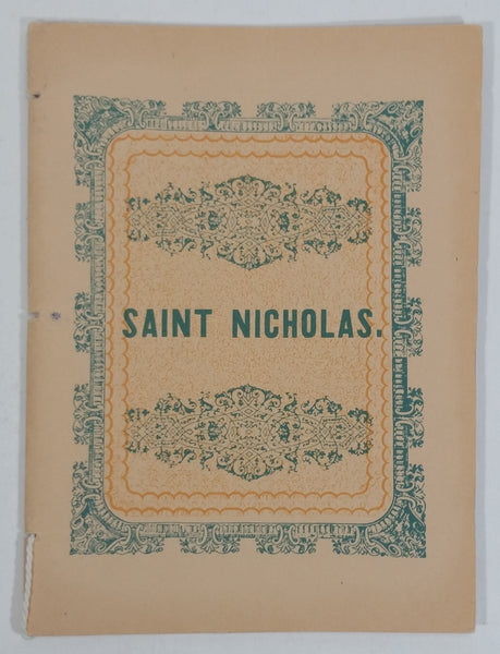 Antique Re-creation of 1849 Illustrated Edition of Saint Nicholas. Small Story Paper Book Letter
