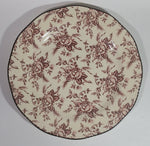 "Wood & Sons Cream and Dark Red Colonial Rose Pattern Fine China 10 3/4"" Plate"