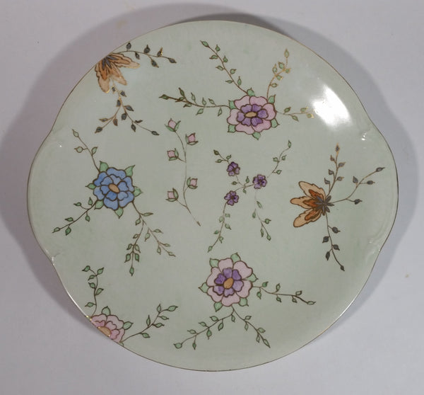Beautiful 1954 Johnson Bros. Hand Painted Victorian Pattern Light Green with Pink, Purple, Blue Flowers Fine China Serving Platter - Signed J. Greenhow Pattern 1