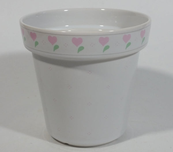 "White Ceramic Pink Heart Themed 4"" Tall Ceramic Flower Pot Made by ""Terra"""