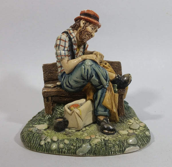 "Vintage 1973 Naturecraft ""Solitude"" Man On A Bench No. 836 Hand Painted Stoneware Sculpture"