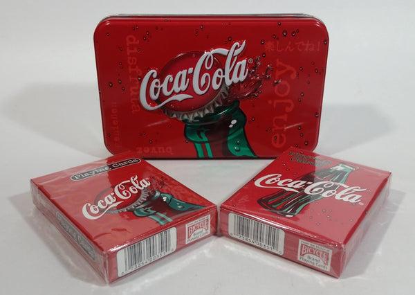 Coca-Cola Coke Soda Pop 2 Packs of Bicycle Brand Playing Cards in Tin Metal Container Beverage Collectible