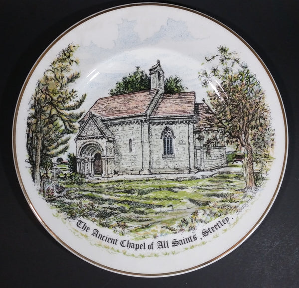 "1991 ""The Ancient Chapel of All Saints, Steetly"" Fine English Bone China Collector Plate By Jenny Hinchliffe - Limited Edition No. 527/1000 - Treasure Valley Antiques & Collectibles"
