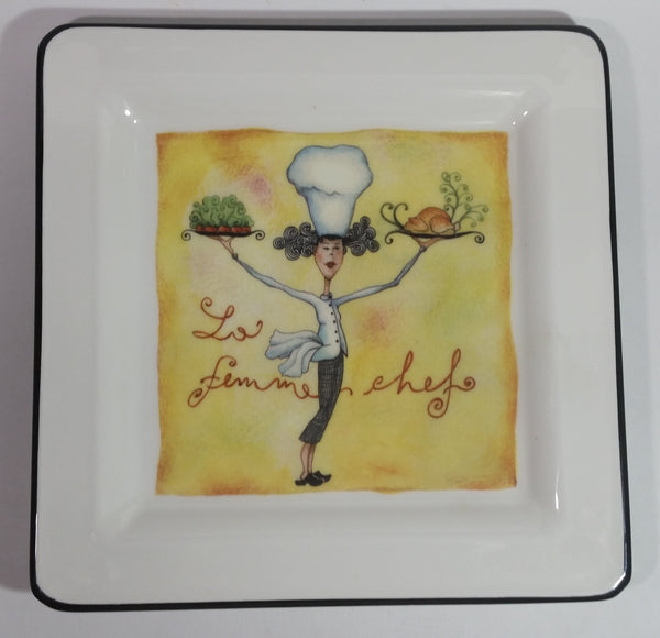 "Brunelli Made in Italy ""La Femme Chef"" Square Pasta Salad Lady Chef 10"" Dinner Serving Plate"