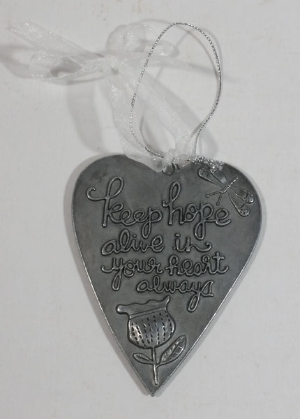 """Keep hope alive in your heart always"" Nature Spring Themed Heart Shaped Hanging Metal Ornament with White Ribbon - Treasure Valley Antiques & Collectibles"