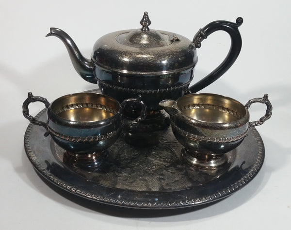 Antique Viking Plate Silver E.P. Copper Tea Serving Set with Tray, Teapot, Creamer and Sugar - 4 Piece Set - Made in Canada