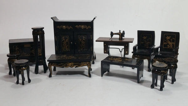 Vintage Japanese Hina Black Lacquered Hand Made Hand Painted Miniature Wood Doll Furniture Lot of 12 Pieces - Treasure Valley Antiques & Collectibles