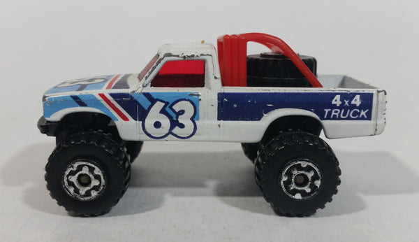 1986 Matchbox Open Back Truck 4x4 #63 White Die Cast Toy Car Vehicle Made in Macau - Treasure Valley Antiques & Collectibles
