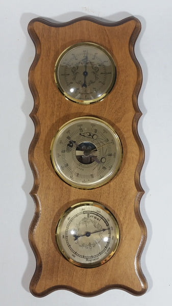 Vintage Baro / Hyrgro Star Wooden Barometer Humidity Thermometer Weather Station Made in France