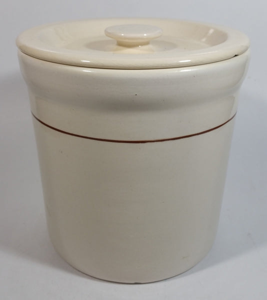"Cream White with Thin Brown Stripe 6 1/2"" Tall Ceramic Crock Pot with Lid"