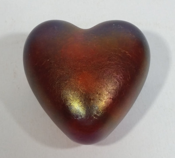 Signed Handmade In Canada Robert Held Iridescent Orange Dark Pink Rainbow Heart Shaped Art Glass with Original Sticker