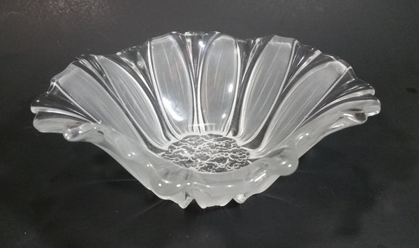 Vintage Crystal Frosted Glass Blossoming Flower Shaped Candy Dish - Treasure Valley Antiques & Collectibles