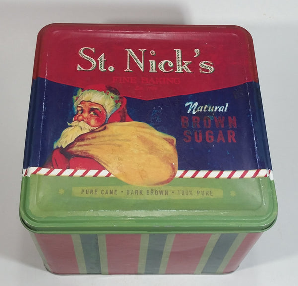 St. Nick's Fine Baking Natural Brown Sugar Pure Cane Dark Brown 100% Pure Santa Christmas Themed Large Tin Container