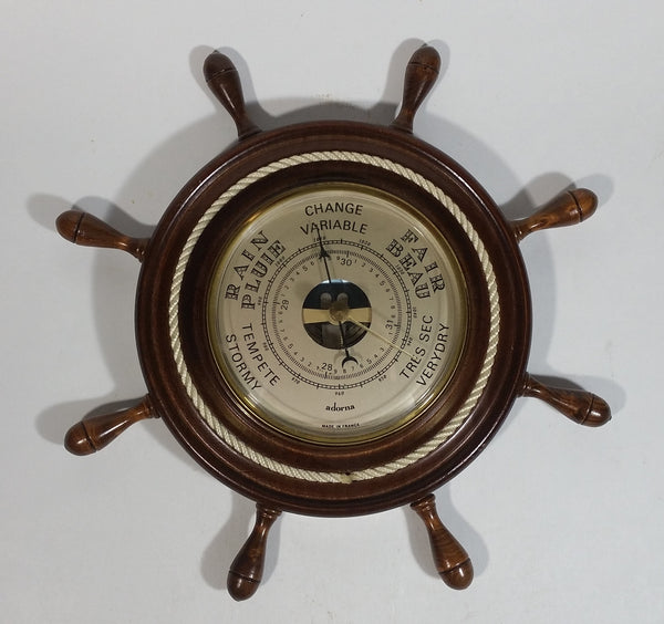 Vintage Adorna Ships Wheel Barometer with Rope Border Made in France