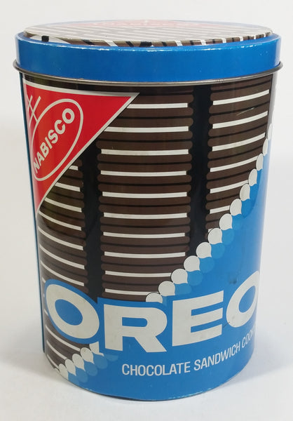 Nabisco Oreo Chocolate Sandwich Cookies Snacks Tall Round Tin Metal Canister