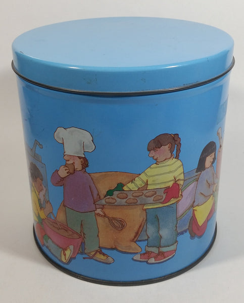 Cute Vintage Children Playing Chef and Baker with Ingredients Blue Tin Metal Canister