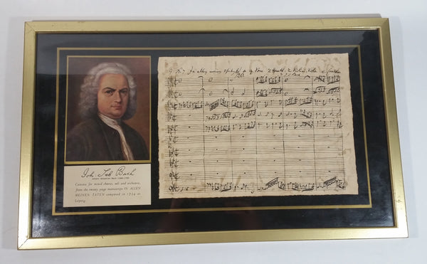 "Rare Antique Johann Sebastian Bach Framed Hand Written Music Sheet and Photo - ""In Allen Meinen Taten"""