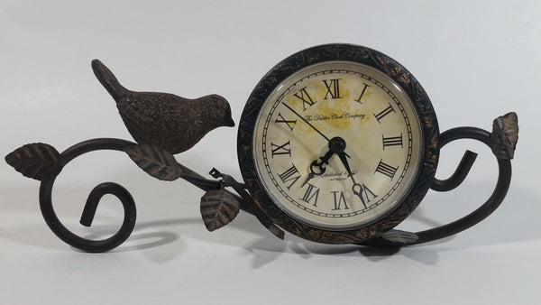 The Dublin Clock Company Sparrow Song Bird Decorative Metal Mantle Desk Clock