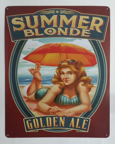 "Summer Blonde Golden Ale Vintage Style Beer and Beach Themed 15"" x 12"" Tin Metal Sign"