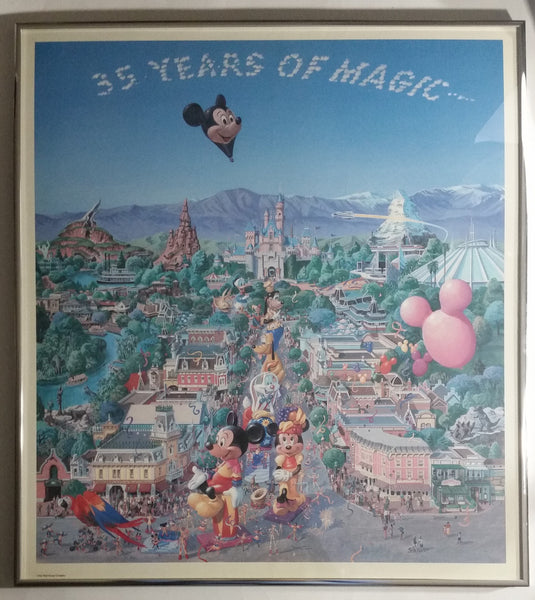 "1990 Disneyland Anniversary ""35 Years of Magic"" Framed 21 3/4"" x 19 1/2"" Art Print Poster By Charles Boyer - Includes 2 Dated Tickets"